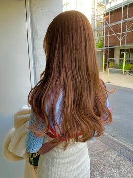ブリーチなしで出来るモテ髪の大人かわいい透明感オレンジカラー