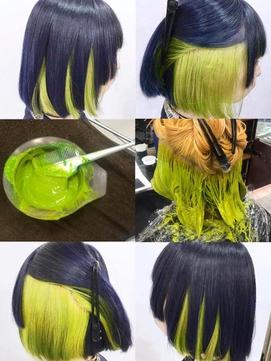 ネイビーブルー×黄緑のデザインインナーカラーミディアムボブ