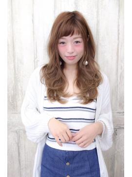 20代30代オン眉アシメ前髪ハイライトアッシュベージュ奈良清水