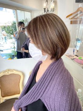 ハイライト白髪ぼかし明るい白髪染め髪質改善梅ヶ丘美容室