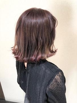 切りっぱなしボブ 紫カラー グラデーションカラー 外ハネ