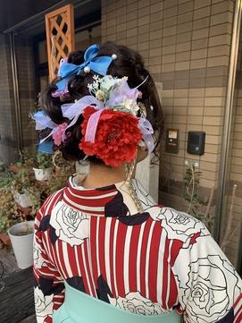 (卒業式袴着物セット)盛り髪アレンジ