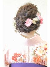 袴着物→洋服にも合う編み込みアレンジ 編み込み.56