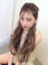 【Real 遠藤眞実】外国人風グレージュカラーミルクティーカラー ハーフアップ.7