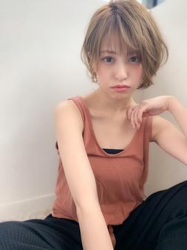 【添田】ひし形耳かけショートレイヤーウルフココアブラウン