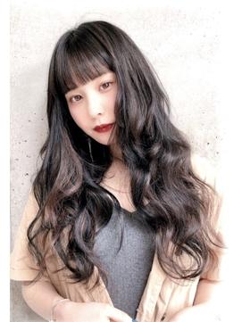 韓国風/黒髪ロング/インナーカラー