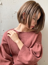 【新宿 佐田】切りっぱなしボブ×ハイライトベージュ.42