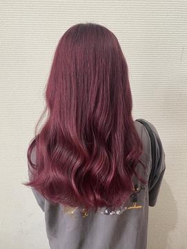 くすみピンク 切りっぱなし ルーズヘア