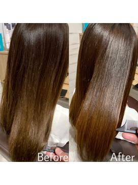 【お客様施術例】髪質改善(弱酸性が特徴の)酸熱トリートメント