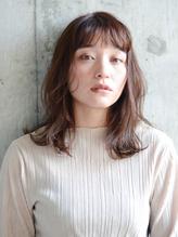 大人かわいい ふわミディ【ベージュカラー フリンジヘア.34