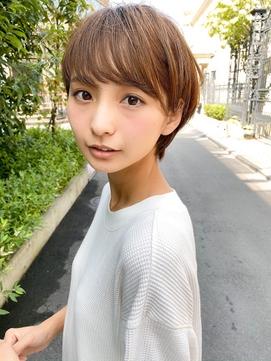 【mee.】福島 丸み小顔ショート モカブラウン イルミナカラー