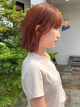 【LA PENSEE】オレンジブラウン 外ハネボブ 切りっぱなし 韓国