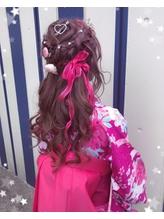 【下北沢*I'll b hair*】デザインカラー★リボンハーフアップ カチューシャ.60