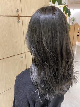 【韓国風ヘアー】暗髪でも重すぎないネイビーグレー♪10代