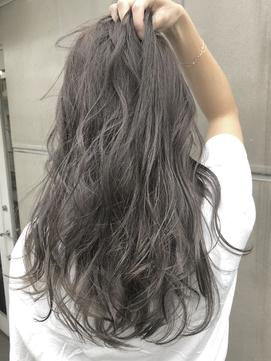 ラベンダーグレージュ/ホワイトアッシュ/ブリーチなし/髪質改善