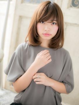斜めバングx暖色系カラー小顔ミディアムボブ20代30代40代c松戸