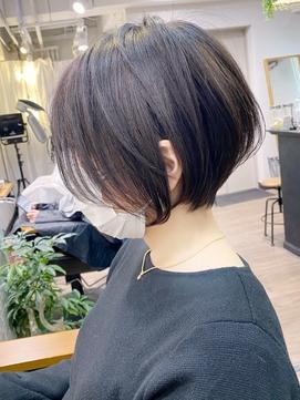 暗髪大人ショートボブ・艶髪ダークグレージュ【BISA】