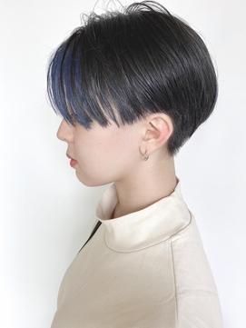 【morio原宿】刈上げハンサムショート 前髪カラー ネイビー