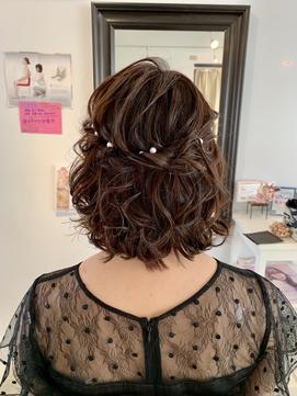 結婚式 二次会 ハーフアップ ショートアレンジ ドレス
