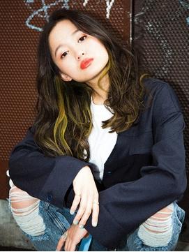 【CYNDY WATARU】黒髪×レモンイエロー!お洒落インナーカラー☆
