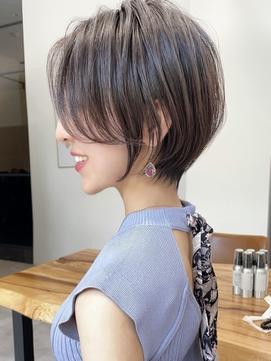 マロンベージュくびれ髪質改善ショート☆白髪染めハイライト