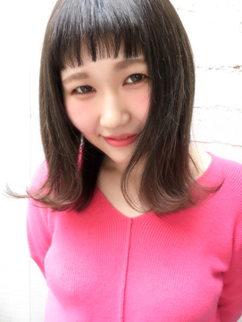 ミディアム☆外ハネ☆眉上パッツン☆ワイドバング☆アッシュ