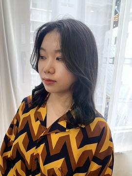 韓国レイヤーカット、こだわり前髪、ブルーブラック**