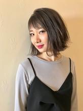 オン眉ナナメが可愛い*切りっぱなし前下がりstyle .1