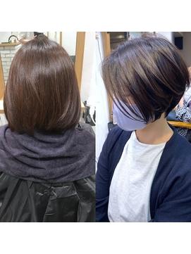 暗髪大人ショートボブ・艶髪ラベンダーアッシュ【BISA】