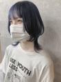 【peony】ハイトーンネイビーブルー+ウルフカット☆福岡/西新