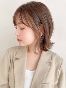 ★イヤリングカラー☆大人可愛い前髪くびれ薄めバング外ハネボブ