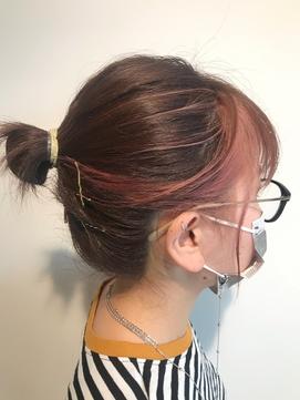 前髪インナーカラーピンク