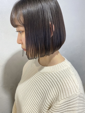 【三ツ井純】ブルーブラック 切りっぱなしボブ 簡単スタイリング