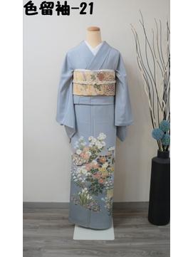 レンタル色留袖-21(花々、正絹三つ紋)