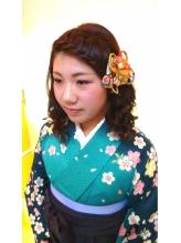 卒業式での ヘアーメイク+着付け カチューシャ.21