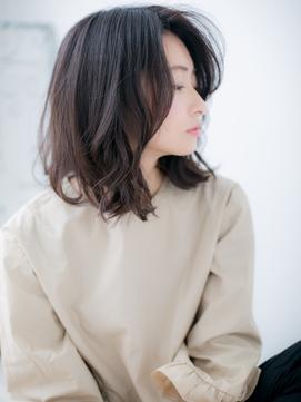 【北千住美容院HANARE】かき上げ前髪×切りっぱなしロブc