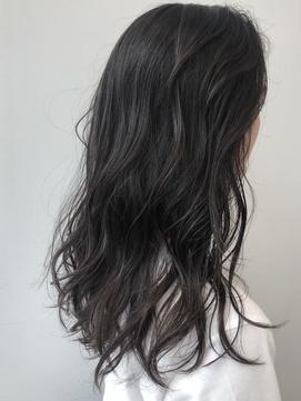 メッシュカラー/グレージュ/暗めカラー/黒髪/くすみブルー