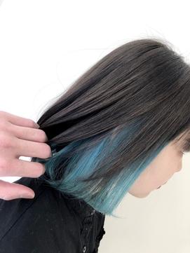 インナーカラー/ブルー/切りっぱなしボブ/20代30代40代/透明感