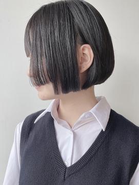 【morio 原宿】黒髪ミニボブ 姫カット オバラ