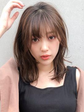 *フェザーバング☆大人かわいい前髪デジタルパーマくびれミディ
