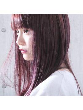 *ピンクパープル×ストレートヘア*