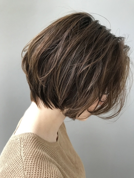 ★大人かわいいハンサムショートパーマココアブラウン黒髪