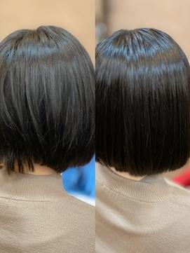 髪質改善黒髪グラボブ愛され小顔社会人就活内巻きストレート清楚