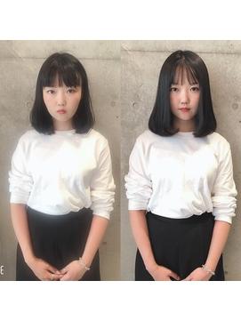 韓国人風前髪エクステ20代30代 シースルーバング 艶感丸みボブ