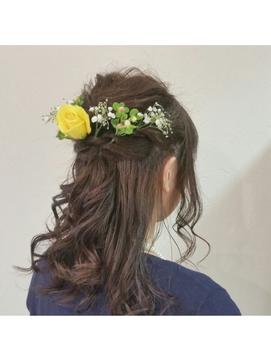 【Neolive cino】生花で華やか!! ハーフアップ