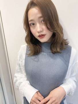 マロンベージュ/Aラインボブ/かきあげ[東京/東京駅丸の内]