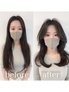 韓国風前髪エギョモリカットパーマ Aラインボブ マロンベージュ