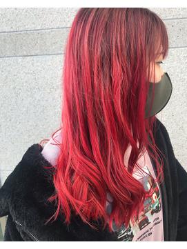 派手髪 赤髪 レッドカラー