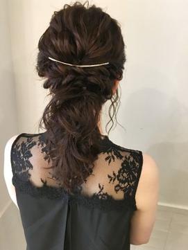 ローポニーヘアセット 結婚式 二次会 成人式