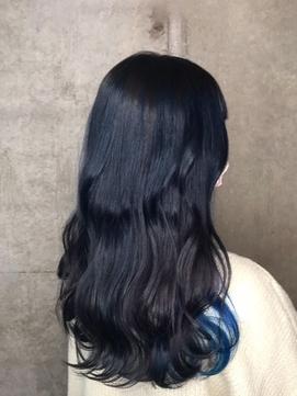 ブルーブラックインブルー/インナーカラー/大人ミディアム/艶髪